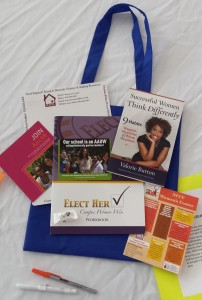 Contents of tote bag provided by a grant from AAUW-NC & AAUW-Chapel Hill